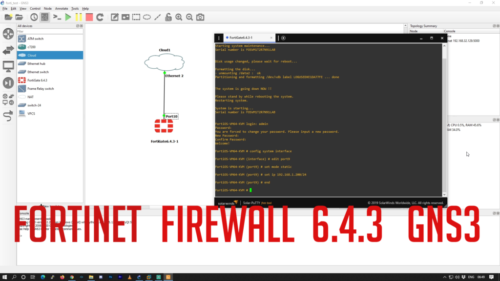 Fortinet firewall 6.4.3 on gns3